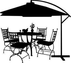 Garden furniture and parasol silhouette